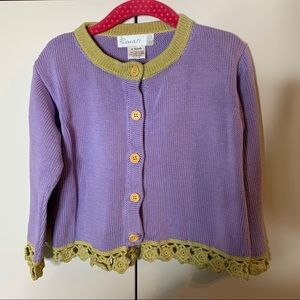 Girl's Renattoni Crochet Trim Cardigan Sweater